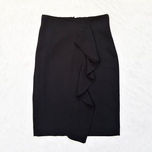 J. Crew Ruffle Pencil Skirt Size 0 in Black - NWOT
